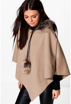 Erin Faux Fur Trim Cape