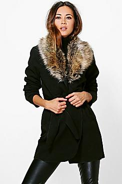 Abigail Faux Fur Collar Wrap Coat