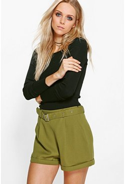Eve Belted Tailored Utility Shorts