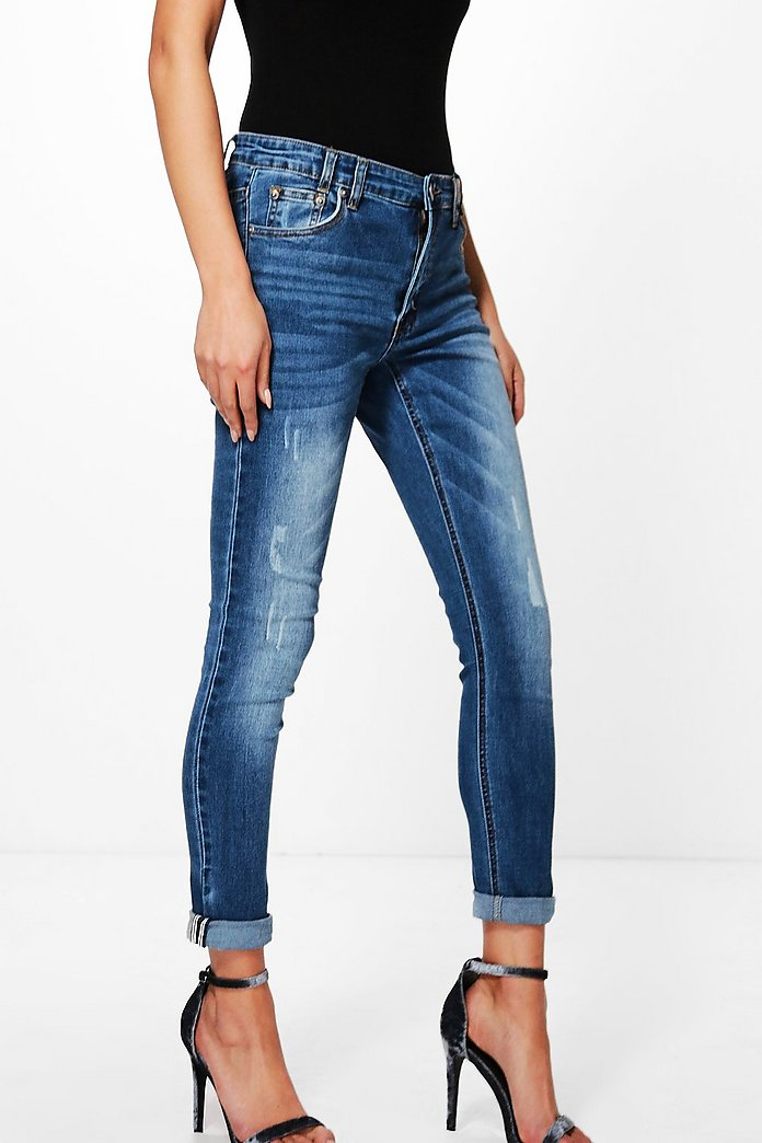 Allie Mid Rise Selvedge Turn Up Skinny Jeans