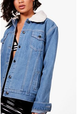 Janie Borg Lined Oversized Denim Jacket