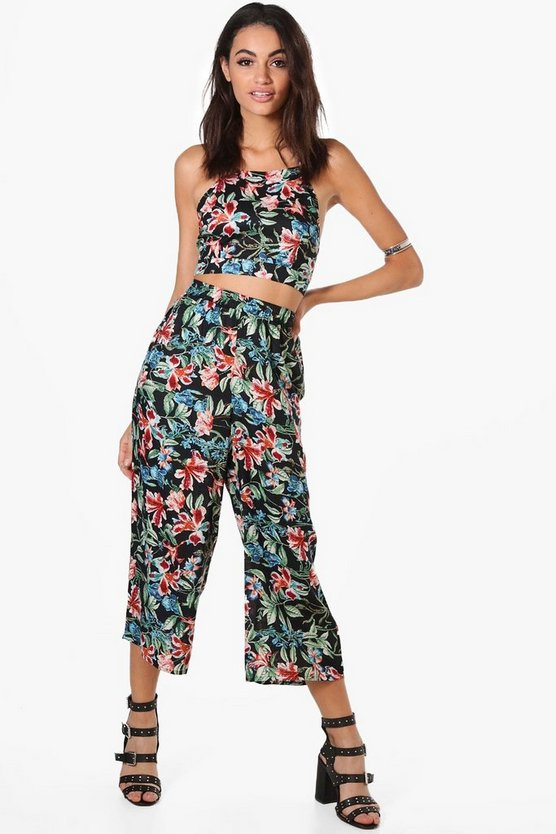 Jasmine Floral Strappy Crop & Culotte Co-Ord