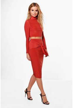 Polly Roll Neck Crop & Tie Skirt Co-Ord