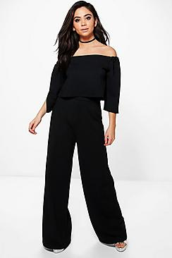Justine Off The Shoulder Crop Wide Leg Co-Ord