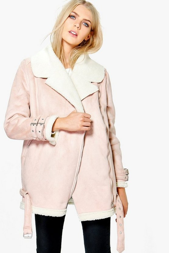 Grace Suedette Aviator Jacket