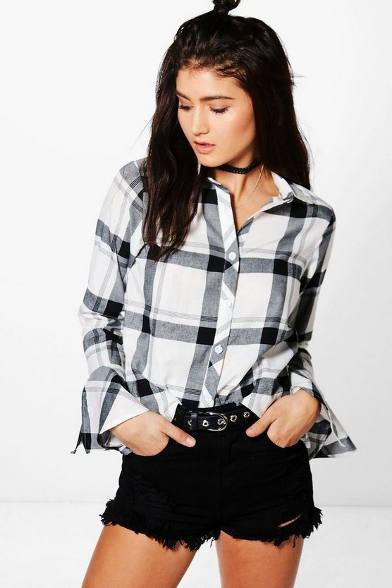 Codie Flute Sleeve Check Shirt