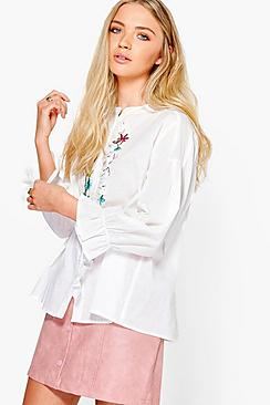 Sophia Embroidered Ruffle Shirt