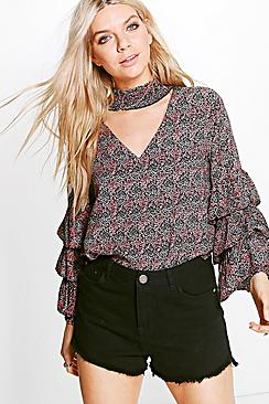 Maisie Tiered Sleeve Printed Blouse