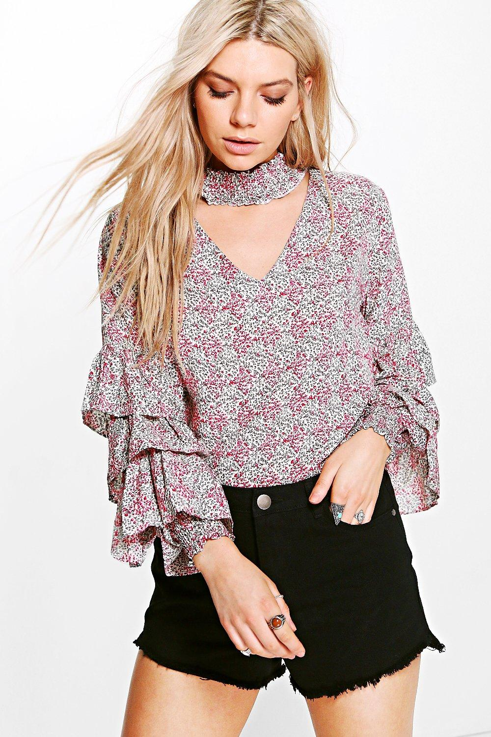 Tiered Sleeve Printed Blouse  cream