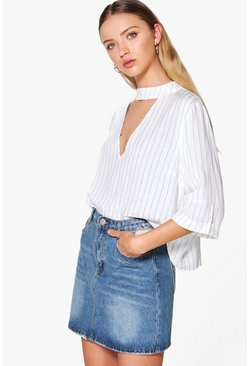 Shama Striped Choker Blouse