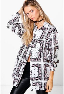 Felicity Mixed Print Oversized Shirt