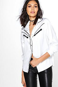 Megan Satin Contrast Piping Western Shirt