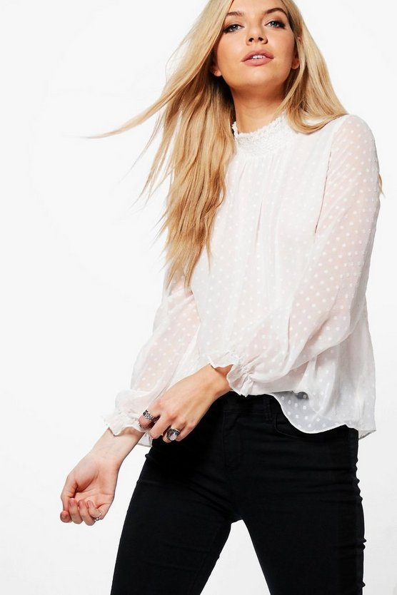 Demi Dobby Spot High Neck Blouse