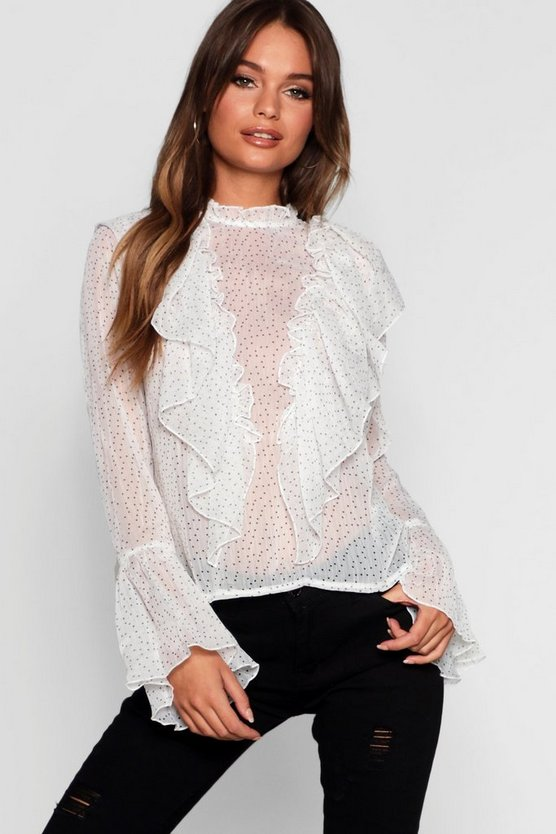 Sabrina Spot Ruffle High Neck Blouse