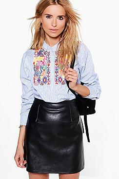 Daisy Striped Embroidered Shirt