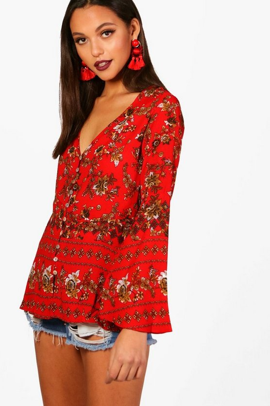 Karla Flare Sleeve Floral Blouse