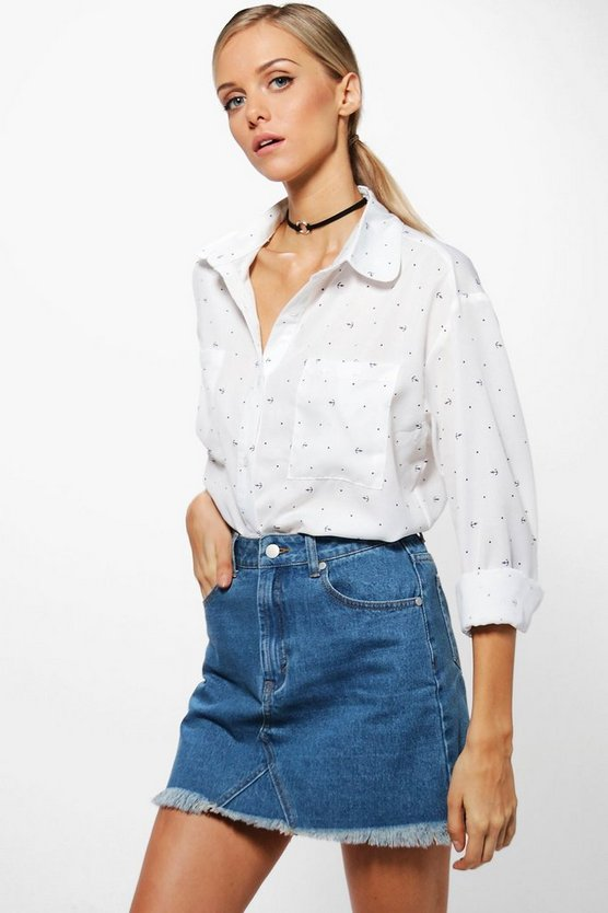 Penny Anchor Print Oversized Shirt