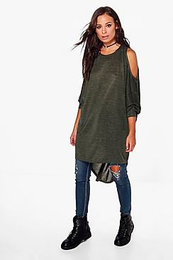 Ellie Cold Shoulder Dip Hem Knit Top