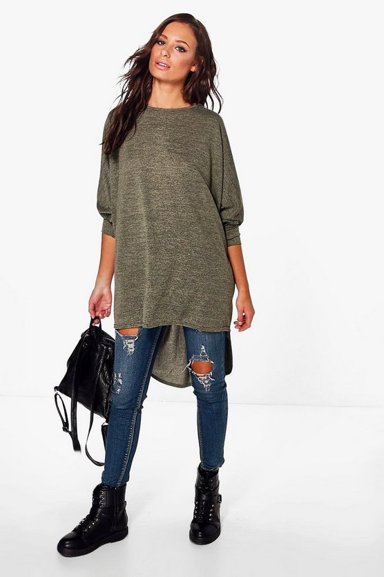 Lola Dip Hem Knitted Oversized Top