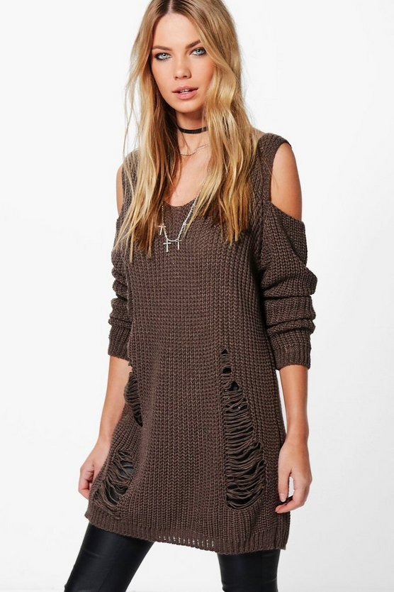 Lacey Distressed Cold Shoulder Jumper