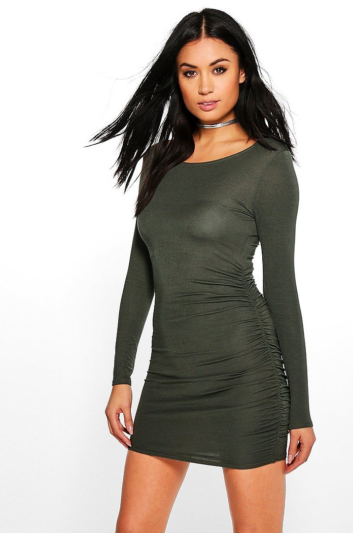 India Long Sleeve Side Rouched Midi Dress