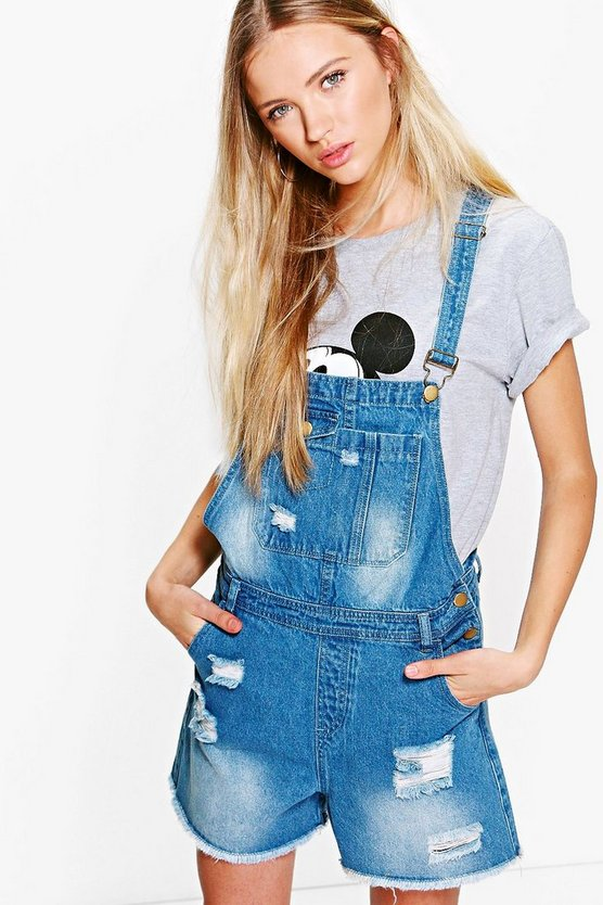 Amelie Distressed Denim Dungaree Shorts
