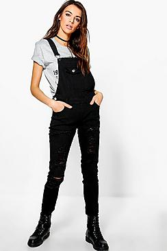 Sandy Multi Ripped Denim Dungaree
