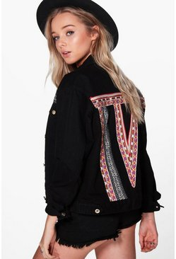 Sally Slim Fit Aztec Back Denim Jacket