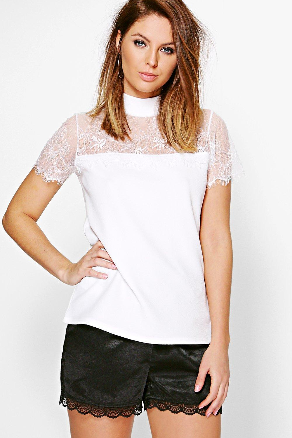 Audrina Lace Neck Top