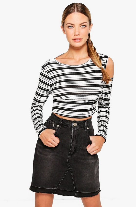 Gemma Stripe Cold Shoulder Top