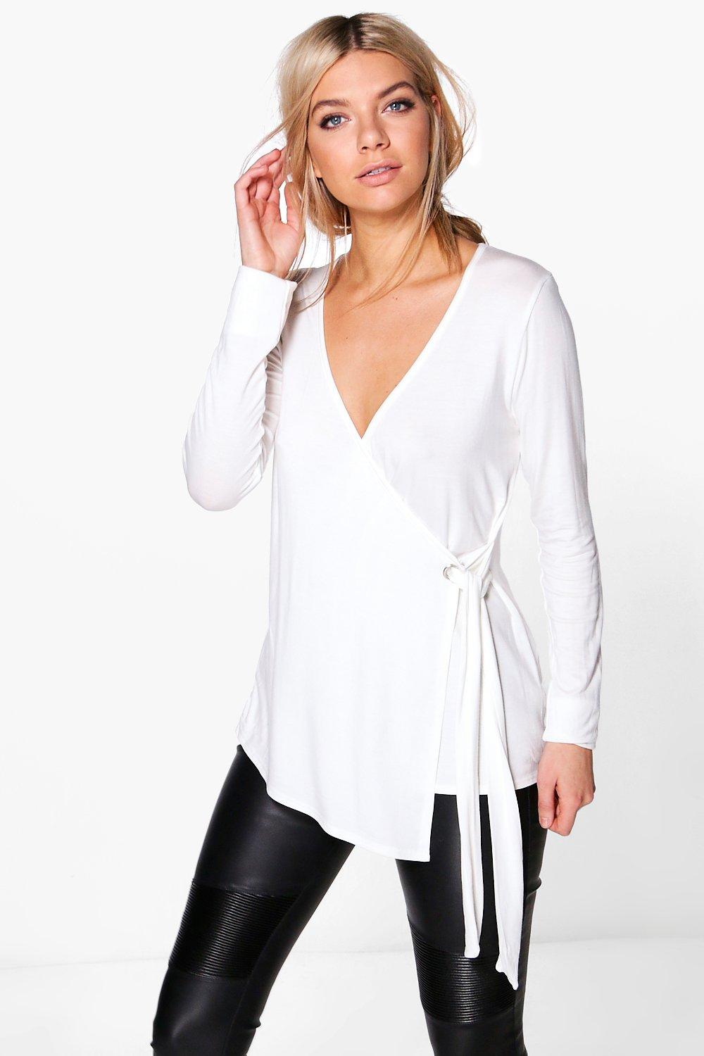 Evaline Eyelet Detail Wrap Front Long Sleeve Top