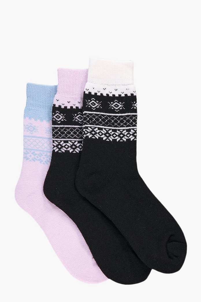 Lola Fairisle Thermal Slipper Socks 3 Pack