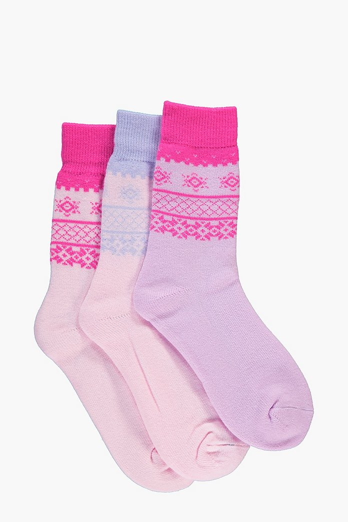 Millie Fairisle Thermal Slipper Socks 3 Pack