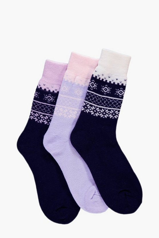 Lilly Fairisle Thermal Slipper Socks 3 Pack