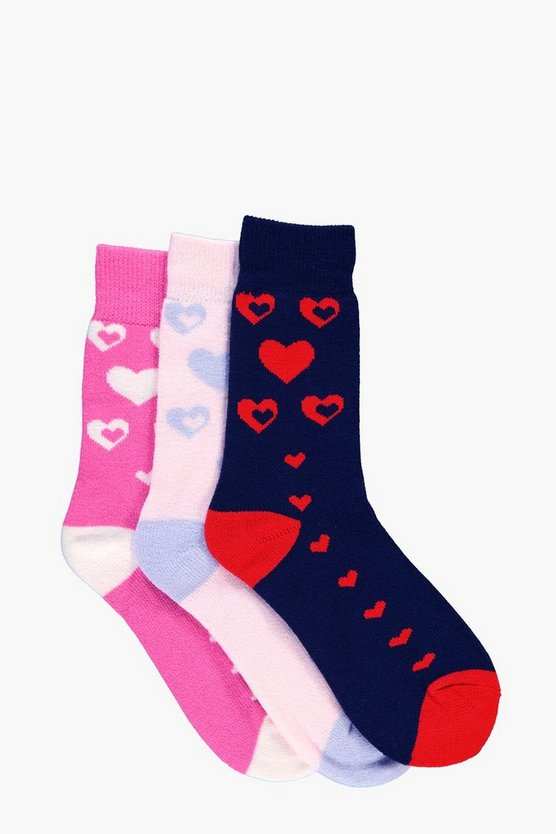 Sofia Heart Thermal Slipper Socks 3 Pack