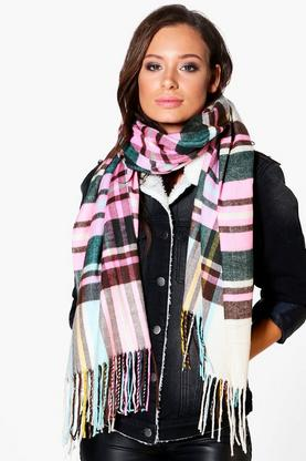 Hannah Supersoft Brushed Knit Tartan Scarf