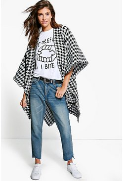 Lucy Houndstooth Knitted Cape
