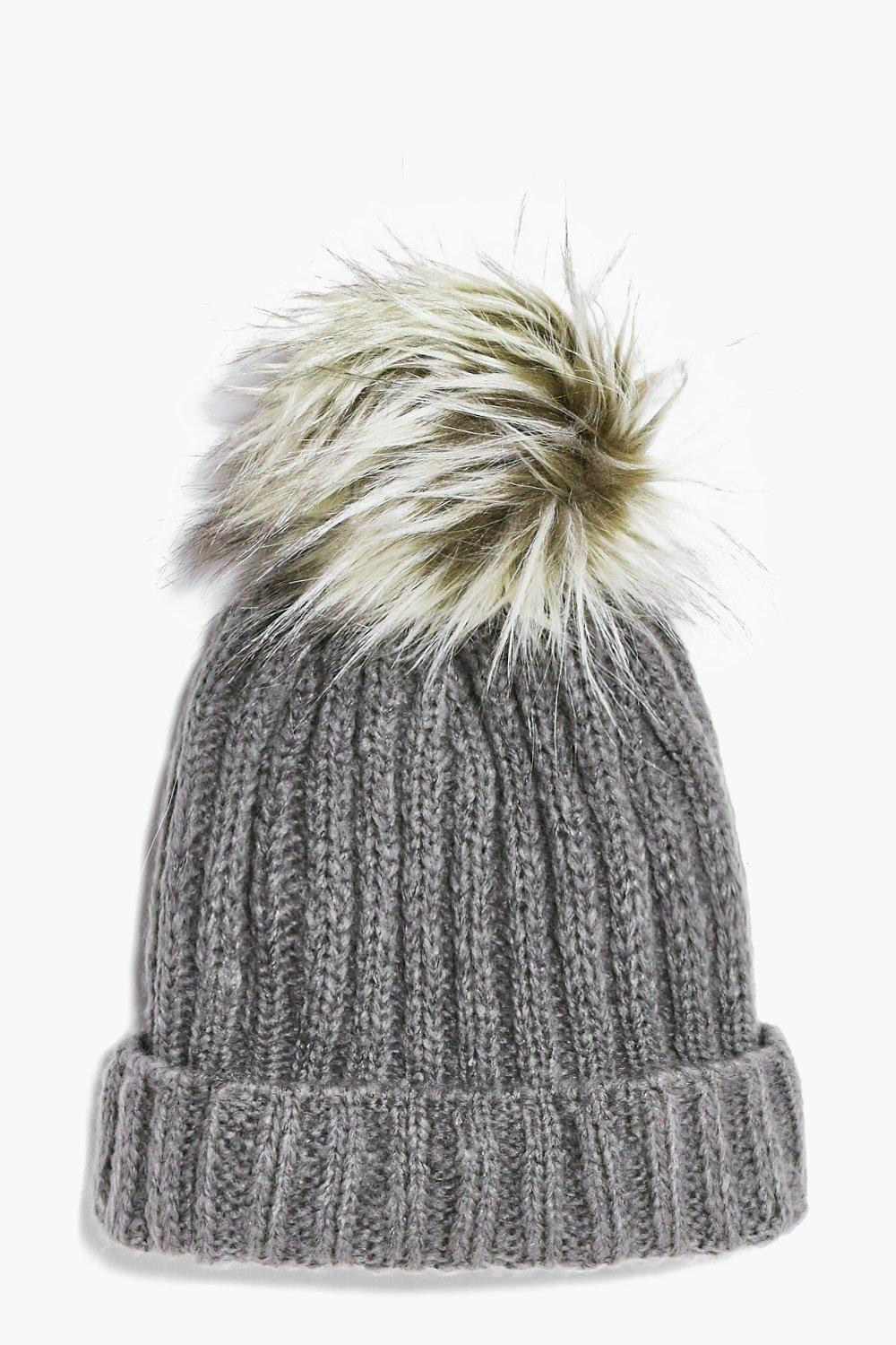 Eva Grey Cable Faux Fur Pom Beanie