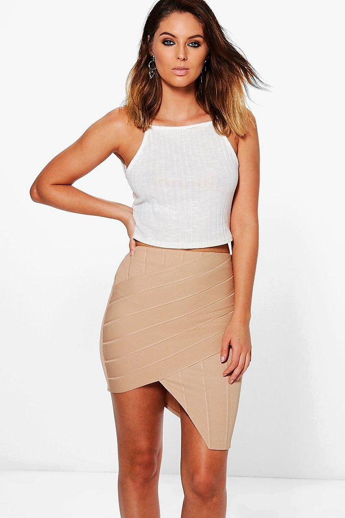Leila Bandage Asymetric Bodycon Midi Skirt