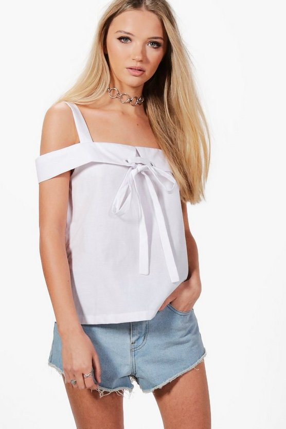 Grace Cold Shoulder Eyelet & Tie Top