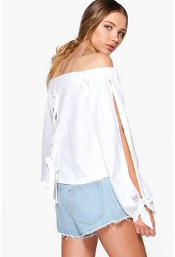 Morgan Lace Up Back Eyelet Bardot Top