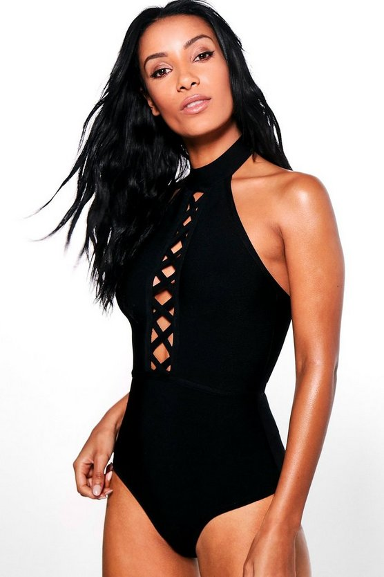 Cancun Boutique Bandage Criss Cross Choker One Piece
