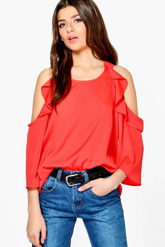 Ariana Woven Cold Shoulder Ruffle Top