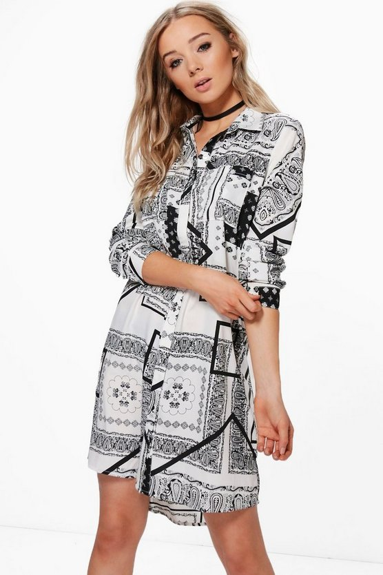 Mia Mono Print Woven Shirt Dress