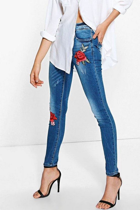 Boutique Ria Embroidered Skinny Jeans