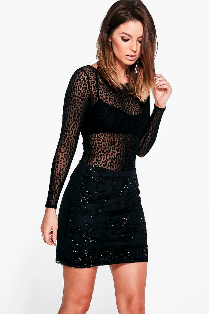 Lorna Embellished Woven Mini Skirt