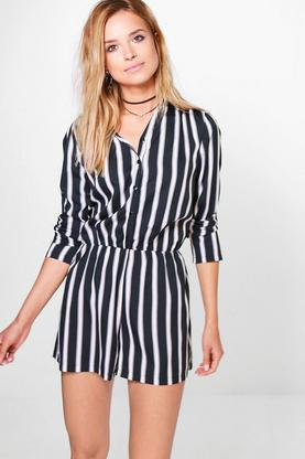 Bry Striped Shirt Playsuit
