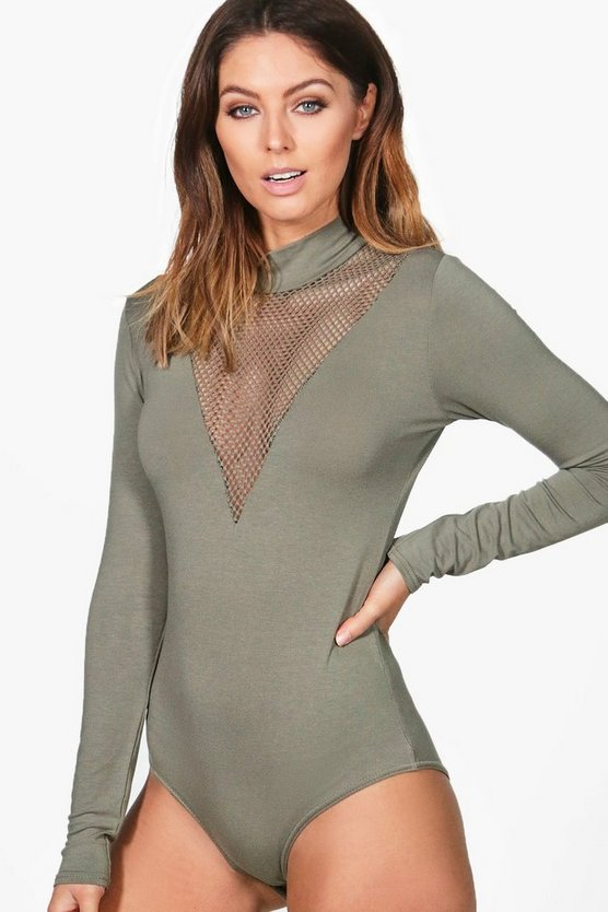 Anita Long Sleeve Mesh Plunge Bodysuit