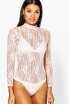 Wendy High Neck Lace Long Sleeve Bodysuit