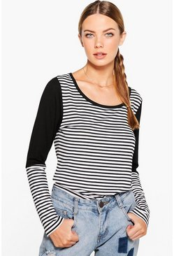 Susan Stripe Contrast Long Sleeve Tee